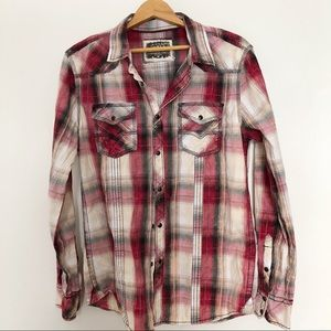 BKE Vintage Plaid Standard Fit Button Up Shirt